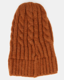 You & I Cable Knit Beanie Rust