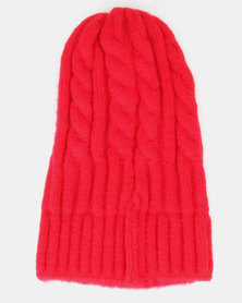 You & I Cable Knit Beanie Red