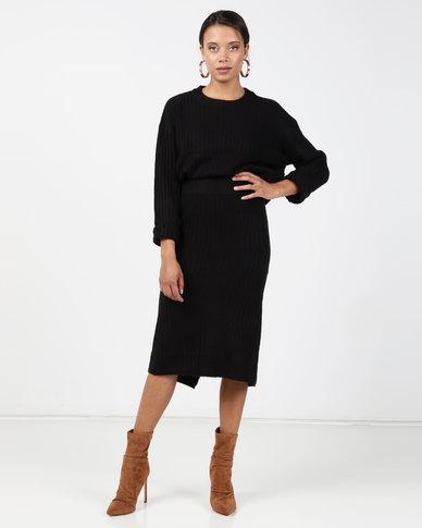 Brave Soul 2 Piece Knitted Set Midi Length Skirt And Jumper Black