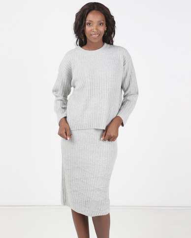 Brave Soul 2 Piece Knitted Set Midi Length Skirt And Jumper Grey