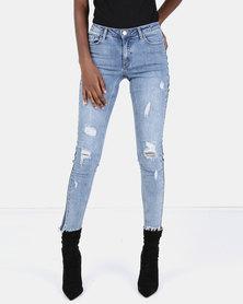 Brave Soul Skinny Jeans With Tape Detail Dark Denim