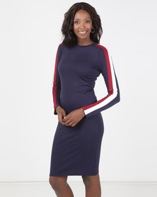 Brave Soul Long Sleeve Midi Dress With Stripe Navy
