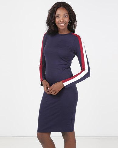 Brave Soul Long Sleeve Midi Dress With Stripe Navy