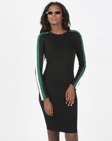 Brave Soul Long Sleeve Midi Dress With Stripe Black