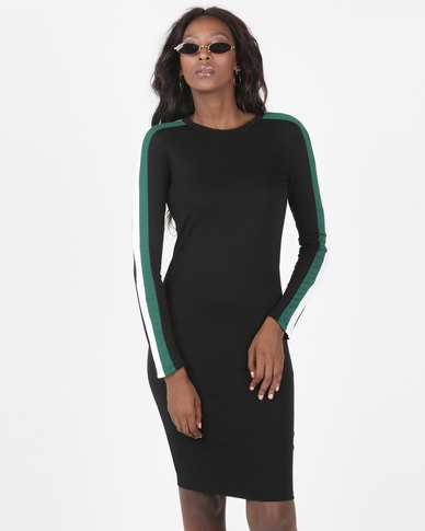 6e3080d4a42 Brave Soul Long Sleeve Midi Dress With Stripe Black | Zando