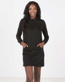 Brave Soul Hooded Jumper Dress Black