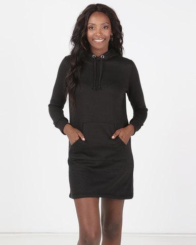 Brave Soul Hooded Jumper Dress Black