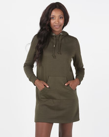 Brave Soul Hooded Jumper Dress Khaki