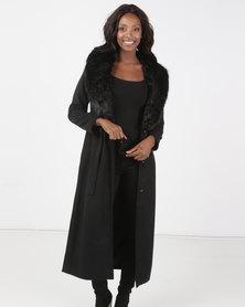 Brave Soul Maxi Length Faux Wool Jacket Black