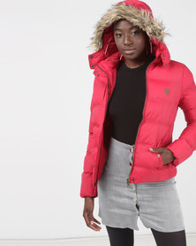 Brave Soul Padded Jacket With Zip Hood Red