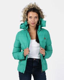 Brave Soul Padded Jacket With Zip Hood Jade