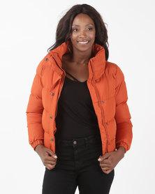 Brave Soul Puffer Jacket With Large Collar Burnt Orange