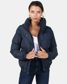 Brave Soul Puffer Jacket With Large Collar Navy