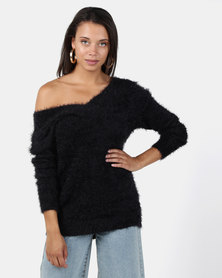 Brave Soul Soft Hairy Jumper Deep V Neck Black