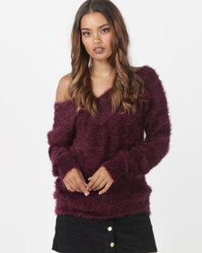 Brave Soul Soft Hairy Jumper Deep V Neck Mulberry Red