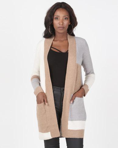 Brave Soul Open Front Colour Block Cardigan Grey Multi