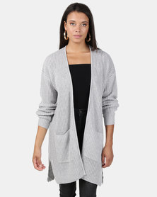 Brave Soul Fisherman Rib Knit Cardigan Grey