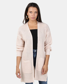 Brave Soul Fisherman Rib Knit Cardigan Soft Pink