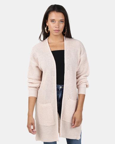 Brave Soul Fisherman Rib Knit Cardigan Soft Pink