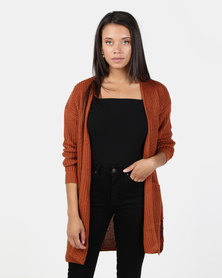 Brave Soul Fisherman Rib Knit Cardigan Arabian Spice Gold