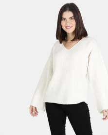 Brave Soul Over Sized V Neck Jumper Oatmeal