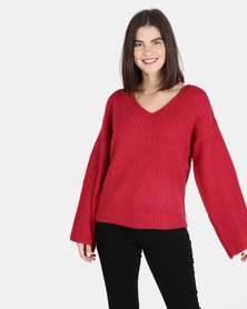 Brave Soul Over Sized V Neck Jumper Red