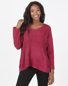 Brave Soul Loose Fit V Neck Chenille Jumper Berry