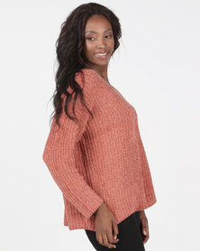 Brave Soul Loose Fit V Neck Chenille Jumper Copper