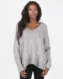 Brave Soul Loose Fit V Neck Jumper With Ribbed Trims Grey