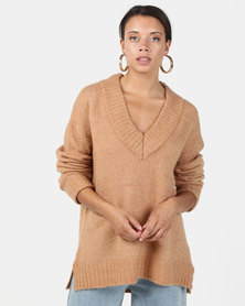 Brave Soul Loose Fit V Neck Jumper With Ribbed Trims Camel