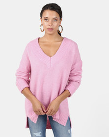 Brave Soul Loose Fit V Neck Jumper With Ribbed Trims Candy Pink
