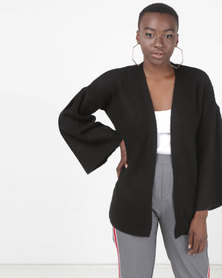 Brave Soul Flared Sleeve Open Cardigan Black