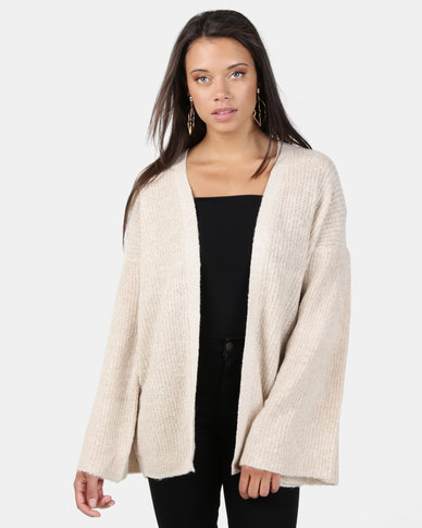 Brave Soul Flared Sleeve Open Cardigan Oyster