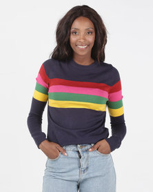 Brave Soul Rainbow Stripe Jumper Navy