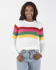 Brave Soul Rainbow Stripe Jumper Multi