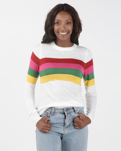 Brave Soul Rainbow Stripe Jumper Multi
