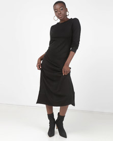 Brave Soul Long Dress With Long Sleeves Black