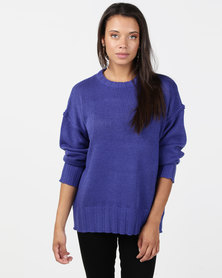 Brave Soul Oversized Jumper Horizon Blue