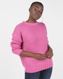 Brave Soul Oversized Jumper Rose Pink