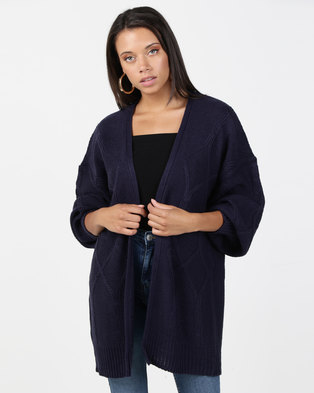 Brave Soul Cable Cardigan Navy