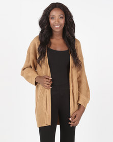 Brave Soul Cable Cardigan Camel