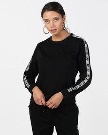 Brave Soul Sweatshirt With Love Stripe On Sleeve Black