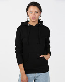 Brave Soul Hooded Sweatshirt With Pouch Pocket Black