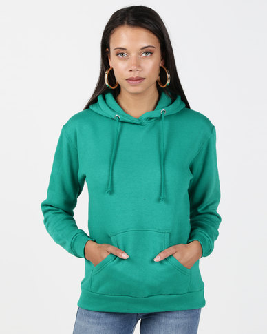 Brave Soul Hooded Sweatshirt With Pouch Pocket Emerald