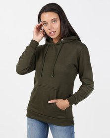 Brave Soul Hooded Sweatshirt With Pouch Pocket Khaki