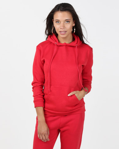 Brave Soul Hooded Sweatshirt With Pouch Pocket Red