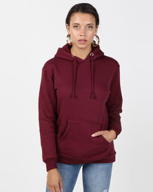 Brave Soul Hooded Sweatshirt With Pouch Pocket Wine