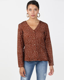 Brave Soul Long Sleeve V Neck Blouse Brown Dot