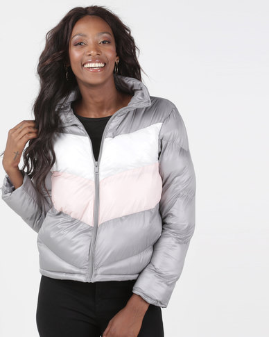 Brave Soul Padded Jacket With Contrast Panel Multi