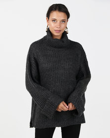 Brave Soul Ribbed Jumper With Roll Neck Charcoal